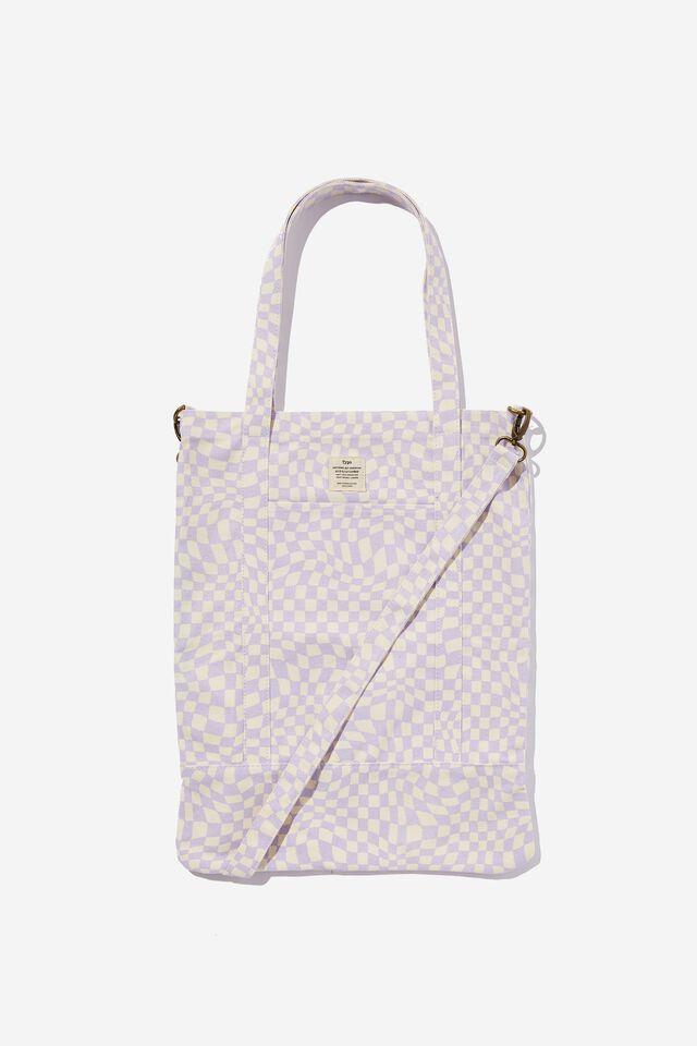Book Tote Bag, WARP CHECKERBOARD LILAC
