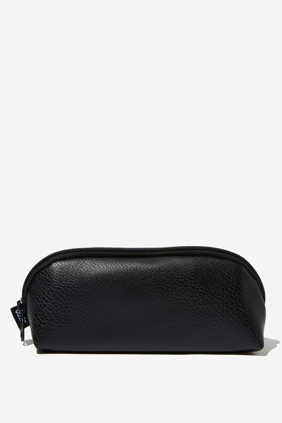 Curved Pencil Case, BLACK PU