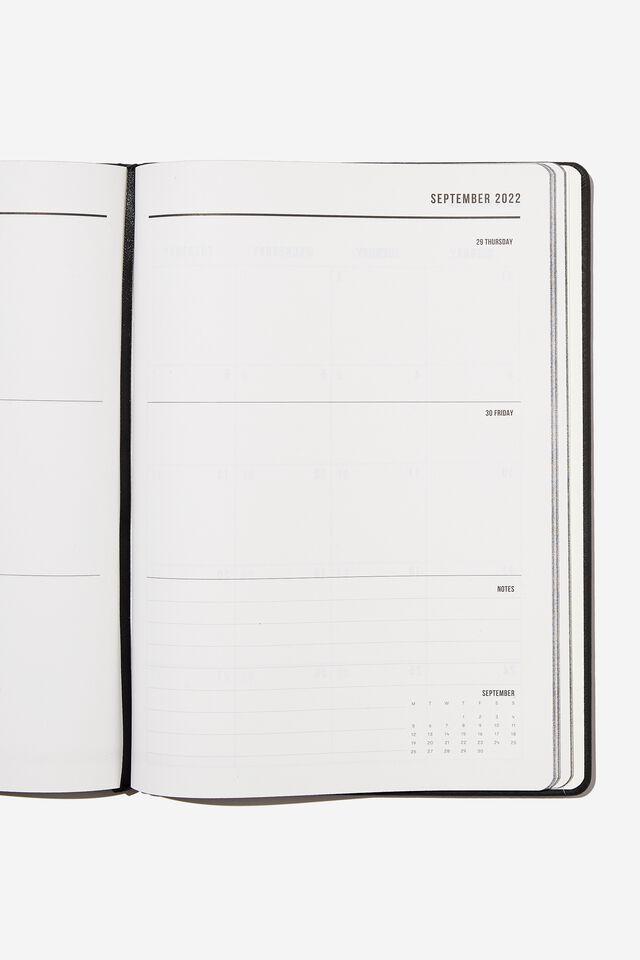 2022 A4 Weekly Buffalo Diary, JET BLACK