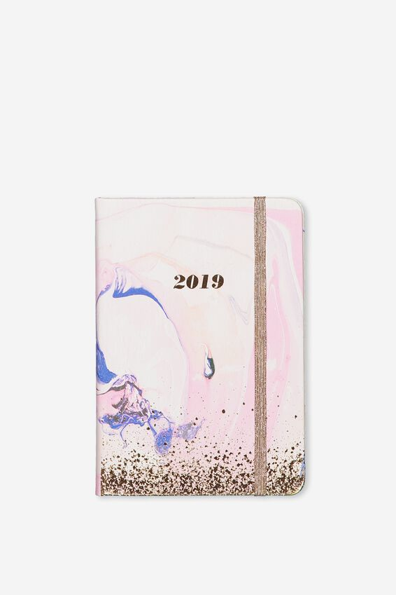2019 A6 Small Weekly Buffalo Planner, PINK WATERCOLOUR