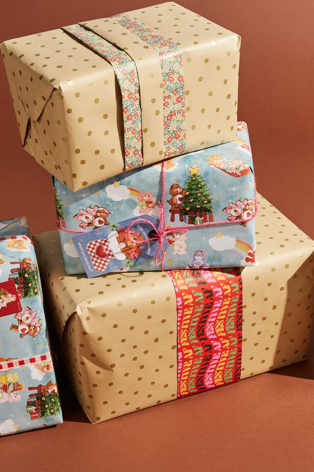Christmas Wrapping Paper Roll, GOLD KRAFT SPOT