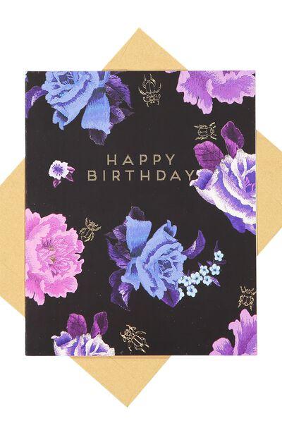 Nice Birthday Card, BLACK FLORAL