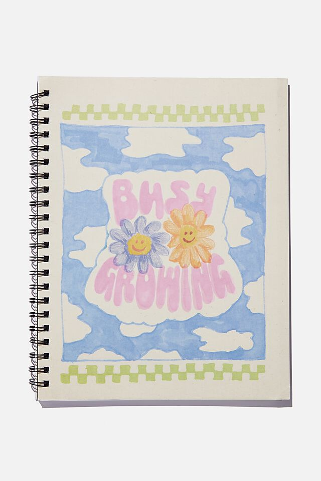 A4 Campus Notebook Recycled, BUSY GROWING FLOWERS ILLO