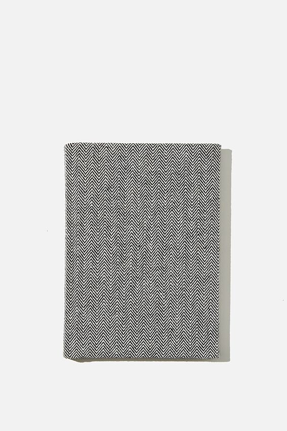 A6 Oxford Notebook, BLACK HERRINGBONE