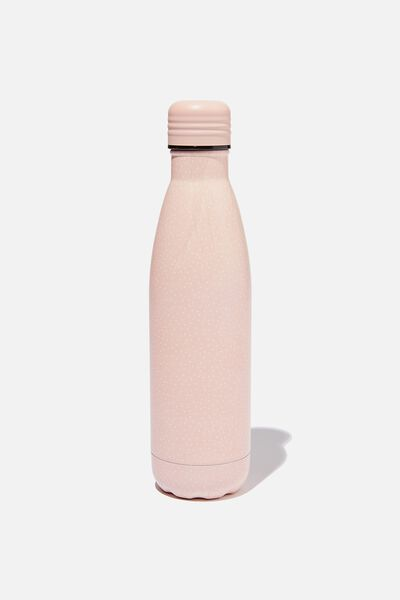 Metal Drink Bottle, PINK MICROSPOT