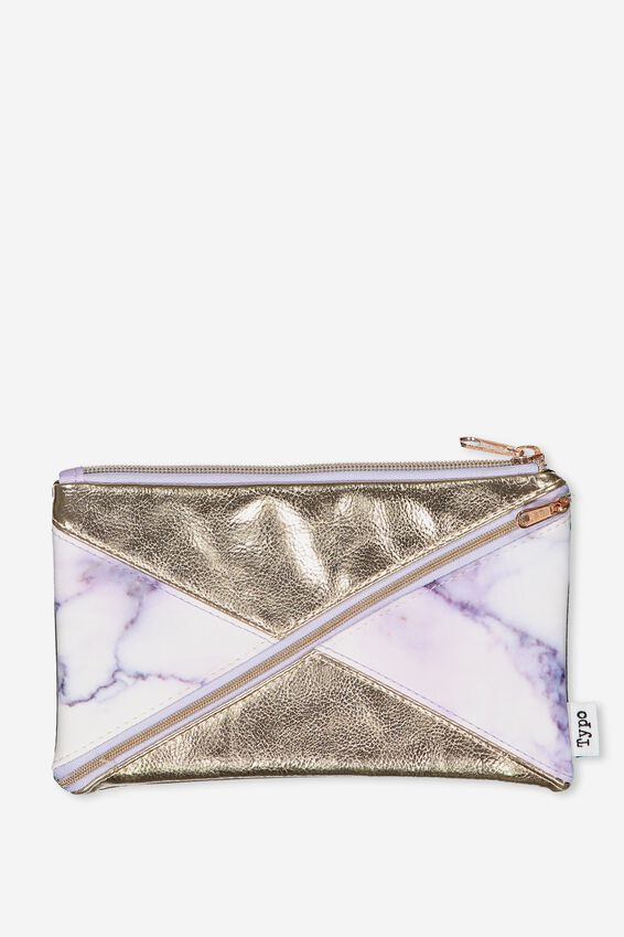 Quad Pencil Case, PURPLE MARBLE