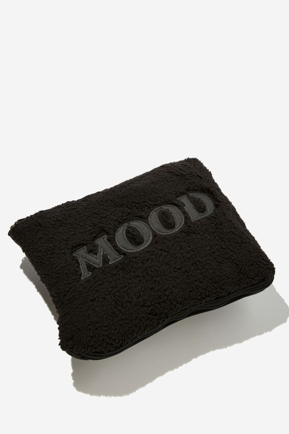 Fleece Convertible Cushy Throw, MOOD BLACK