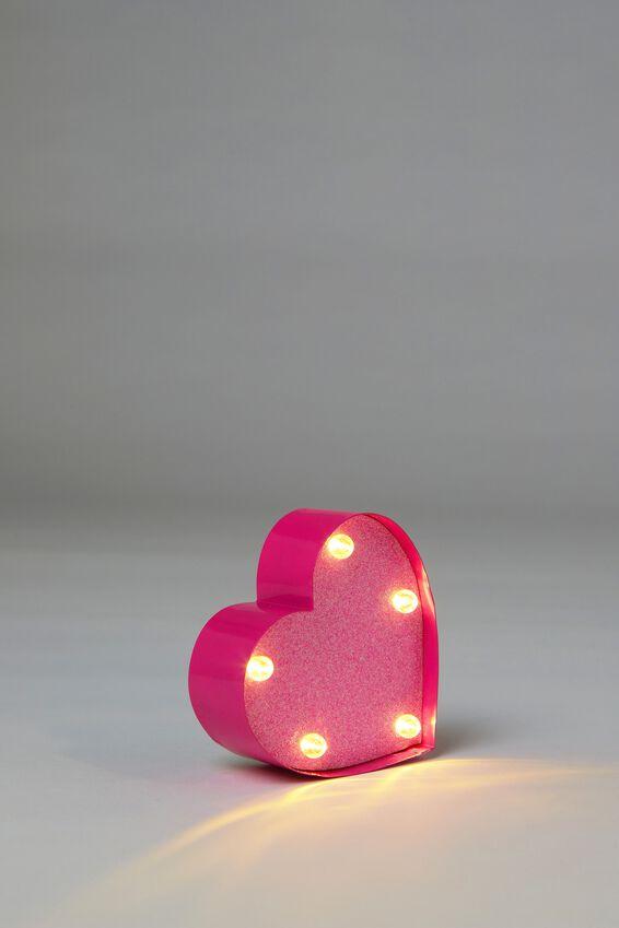 Shaped Mini Marquee Light, PINK GLITTER HEART