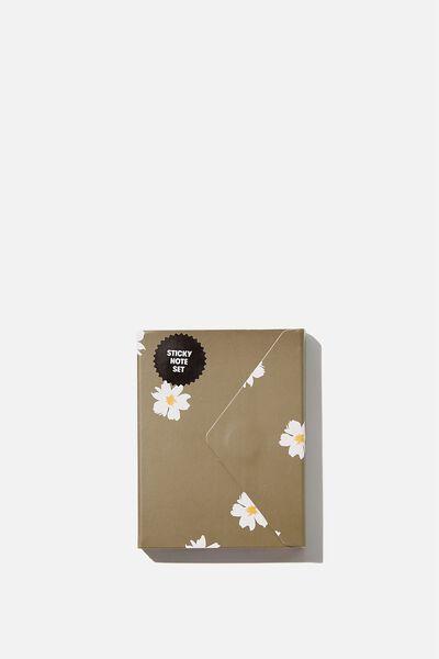 Pocket Sticky Note Set, DAISY KHAKI