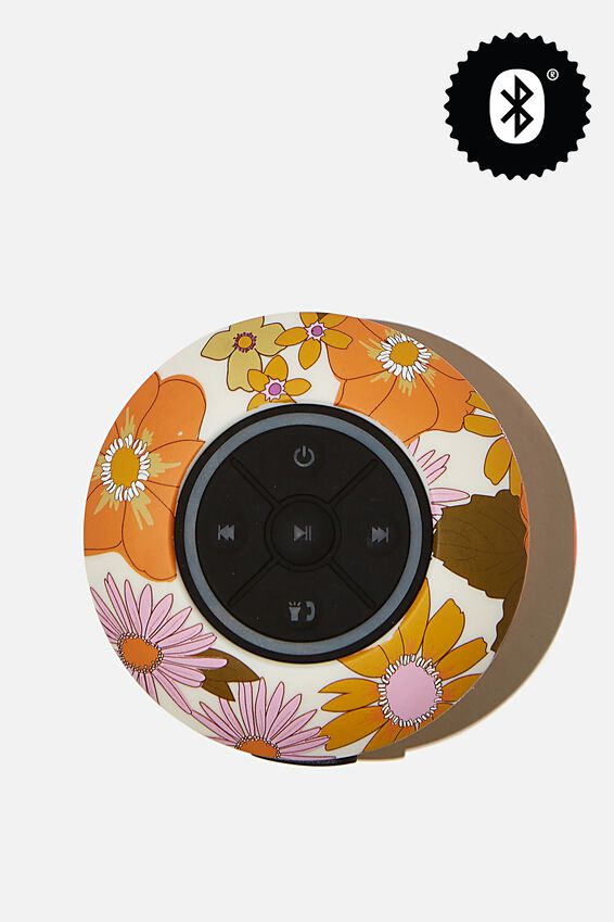 Wireless Led Shower Speaker, STEVIE FLORAL ORANGE & PINK 2.0