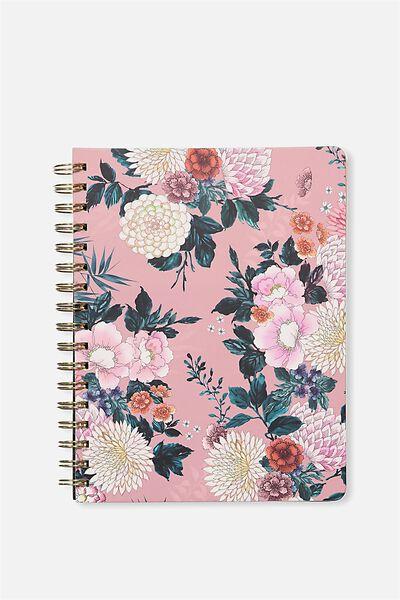 B5 Premium Spiral Notebook, PINK FLORAL