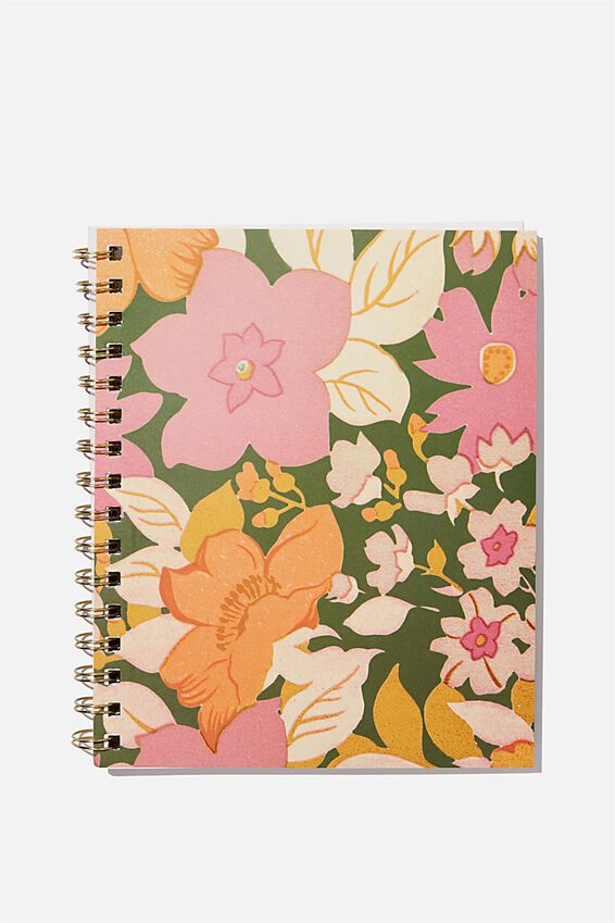A5 Campus Notebook Recycled, 70S FLORAL