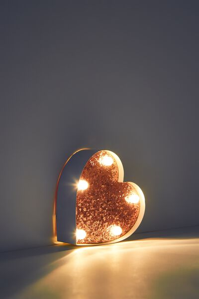 Shaped Mini Marquee Light, WHITE WITH ROSE GOLD GLITTER HEART