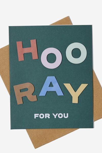 Premium Nice Birthday Card, HOORAY FOR YOU MULTI GREEN