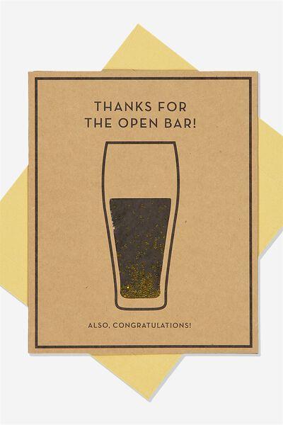 Wedding Card, OPEN BAR!