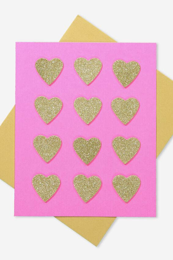 Premium Love Card, HEARTS GOLD GLITTER