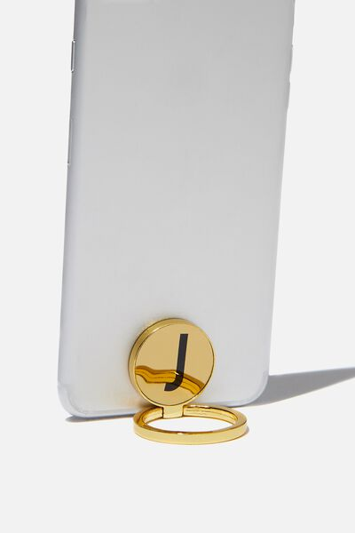 Metal Alpha Phone Ring, GOLD J