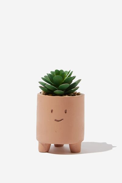 Tiny Planter With Plant, TERRACOTTA HAPPY FACE