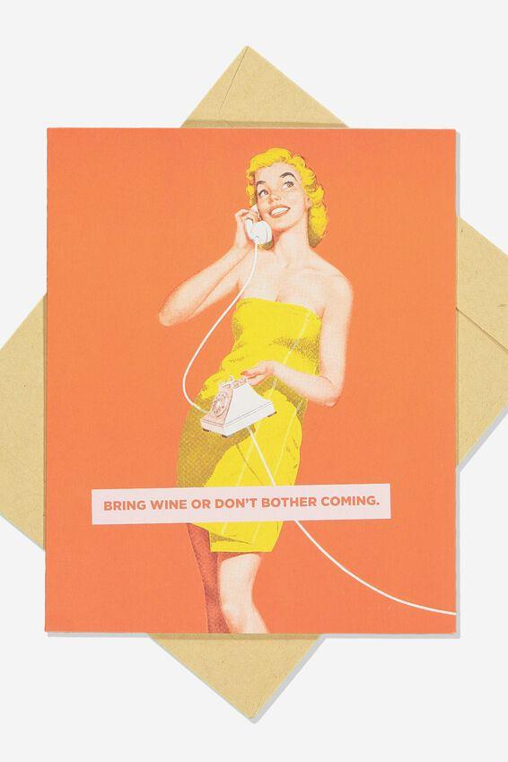 Funny Birthday Card, RETRO BRING WINE
