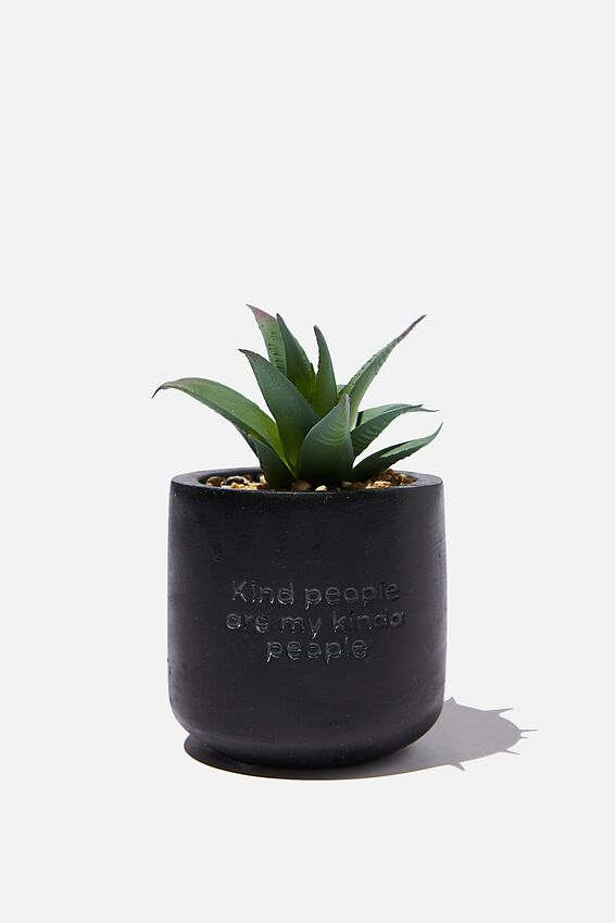 Tiny Planter With Plant, MATTE BLACK KIND PEOPLE