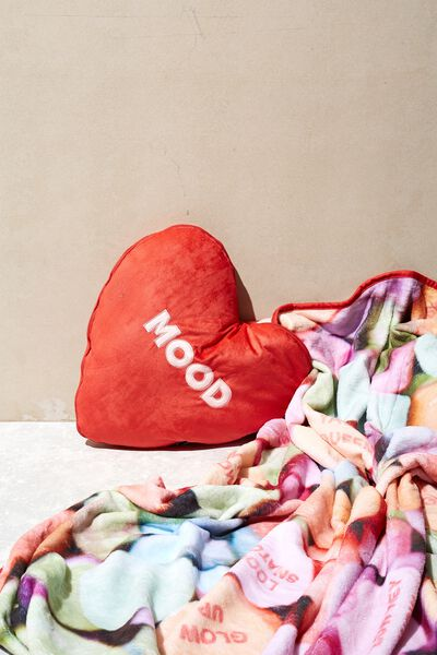 Convertible Cushy Cushion Throw, MOOD CANDY HEART