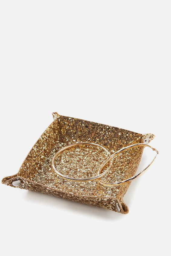 Foldable Trinket Tray, GOLD GLITTER