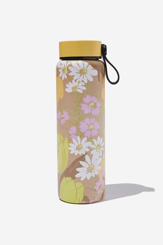 On The Move Metal Drink Bottle 500Ml, GOLDIE FLORAL SAND