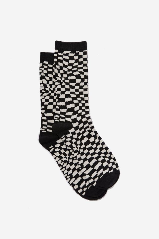 Socks, WARPED CHECKERBOARD BLACK