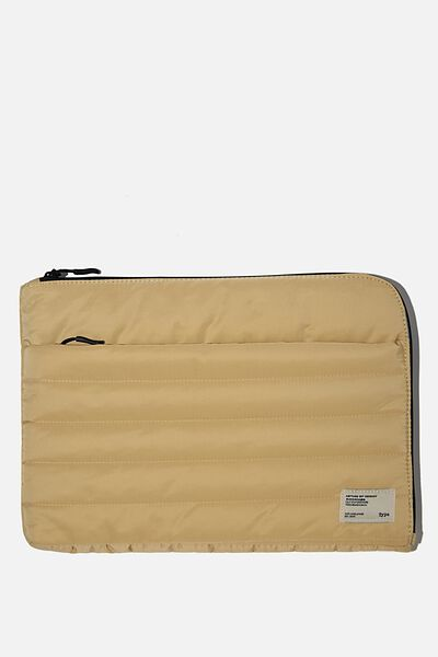 Utility Recycled 13 Inch Laptop Case, WASHED MUSTARD AND DUSTY BLUE