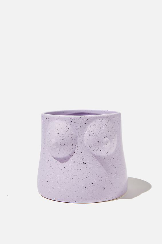 Midi Shaped Planter, PALE LILAC SPECKLE BOOBS!