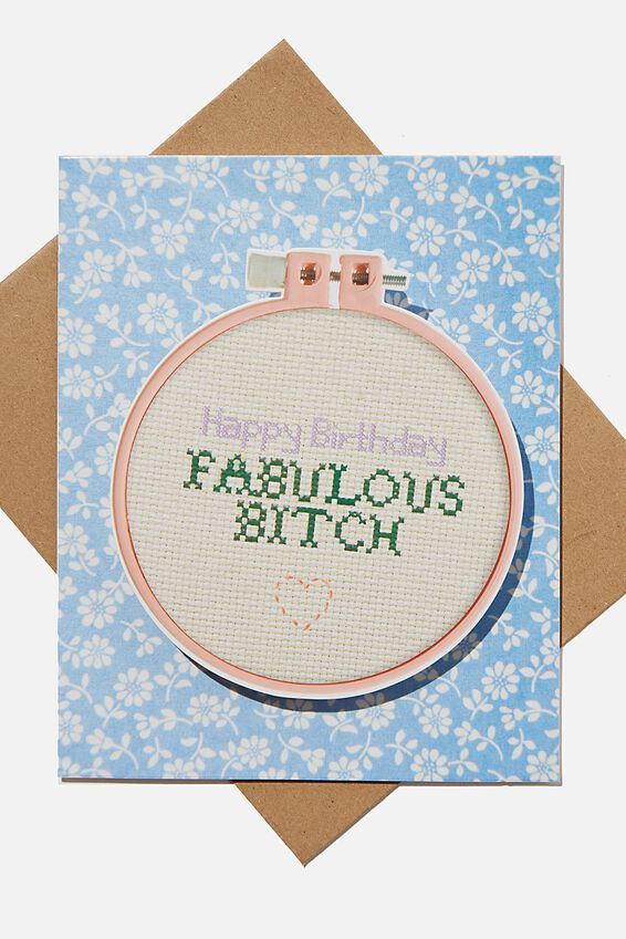 Premium Funny Birthday Card, BOBBLE FABULOUS BITCH EMBROIDERY HOOP!