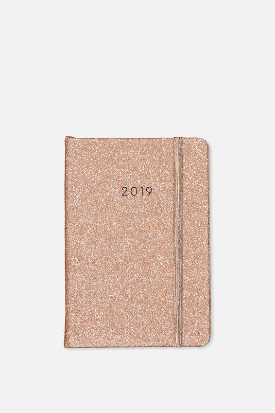 2019 A6 Daily Buffalo Diary, ROSE GOLD GLITTER