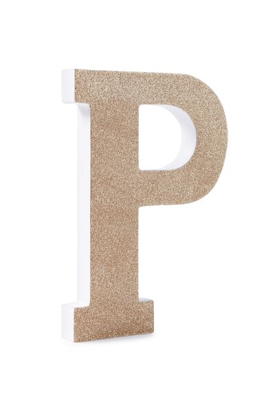 Glitter Letterpress Letter, GOLD GLITTER P