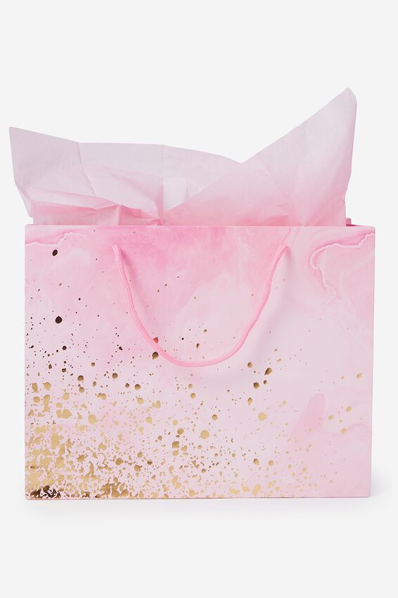 Medium Gift Bag with Tissue Paper, PINK MARBLE