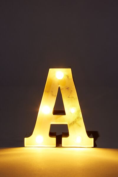 Mini Marquee Letter Lights 3.9inch, MARBLE A