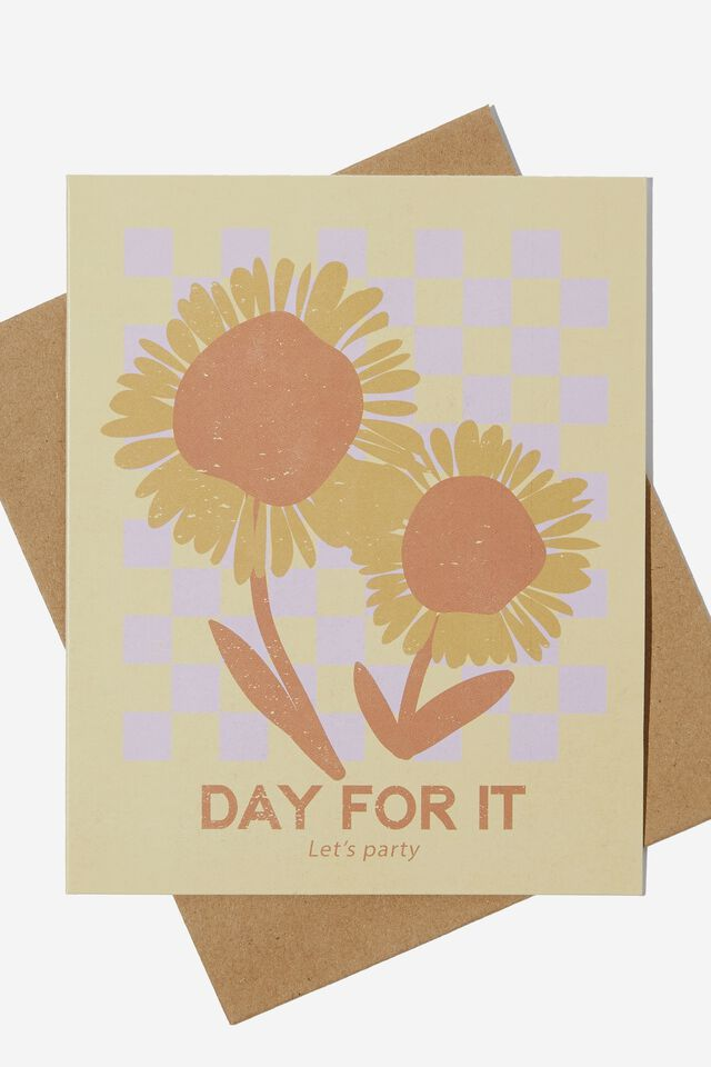Nice Birthday Card, DAY FOR IT SUNFLOWERS CHECKERBOARD