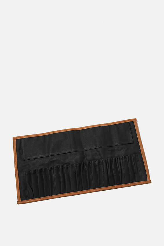 Roll With It Brush Case, BLACK CANVAS