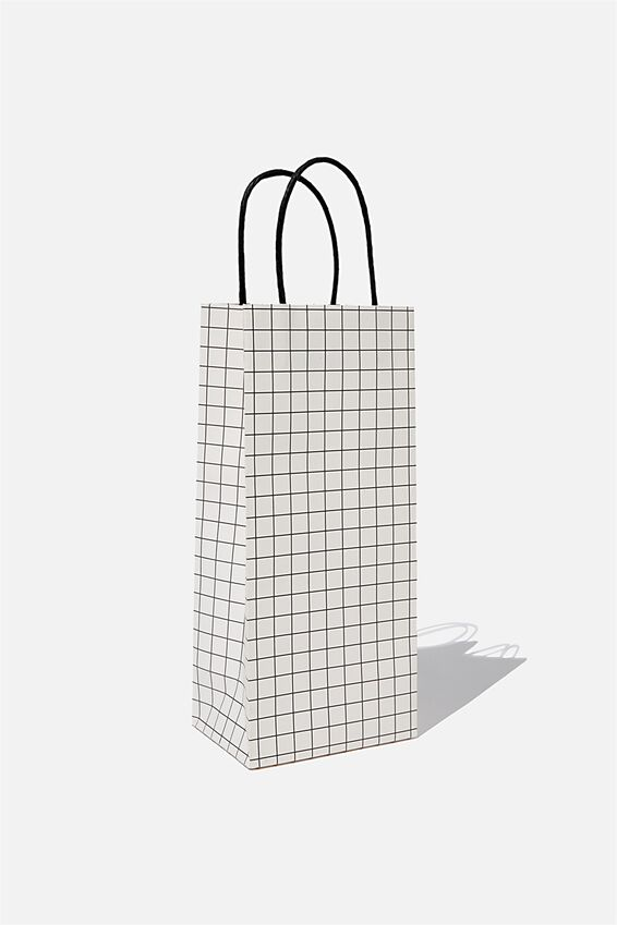 Bottle Gift Bag, WHITE BLACK GRID