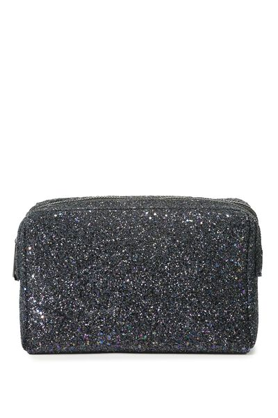 Dual Zipper Cosmetic Case, BLACK GLITTER