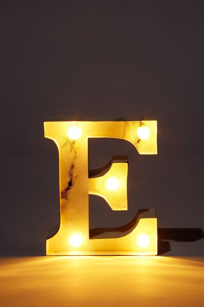 Mini Marquee Letter Lights 3.9inch, MARBLE E