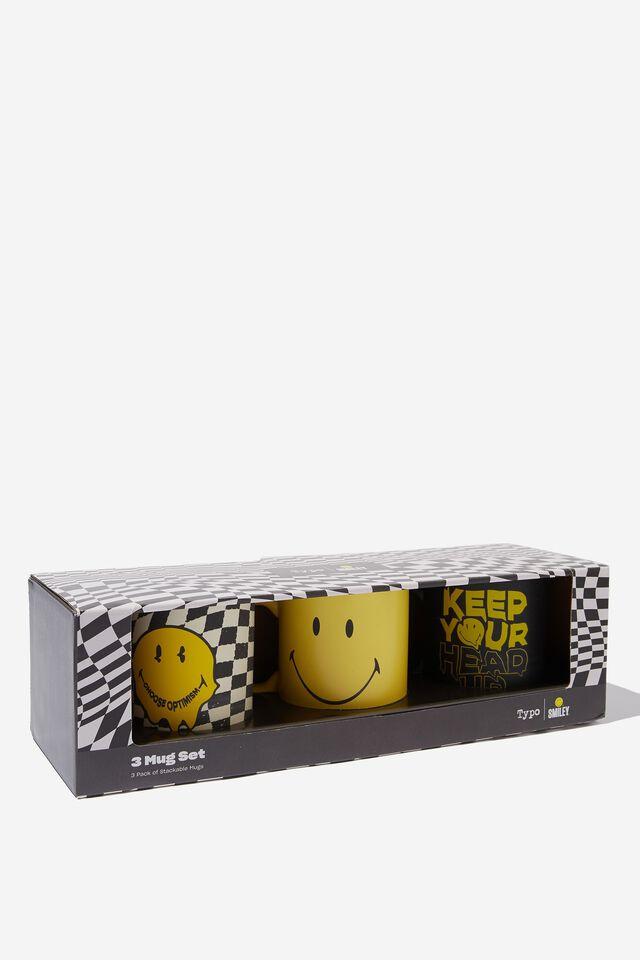 Smiley Pack of 3 Mugs, LCN SMI SMILEY