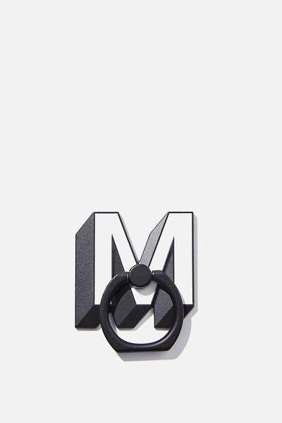 Metal Alpha Phone Ring, SHAPED M