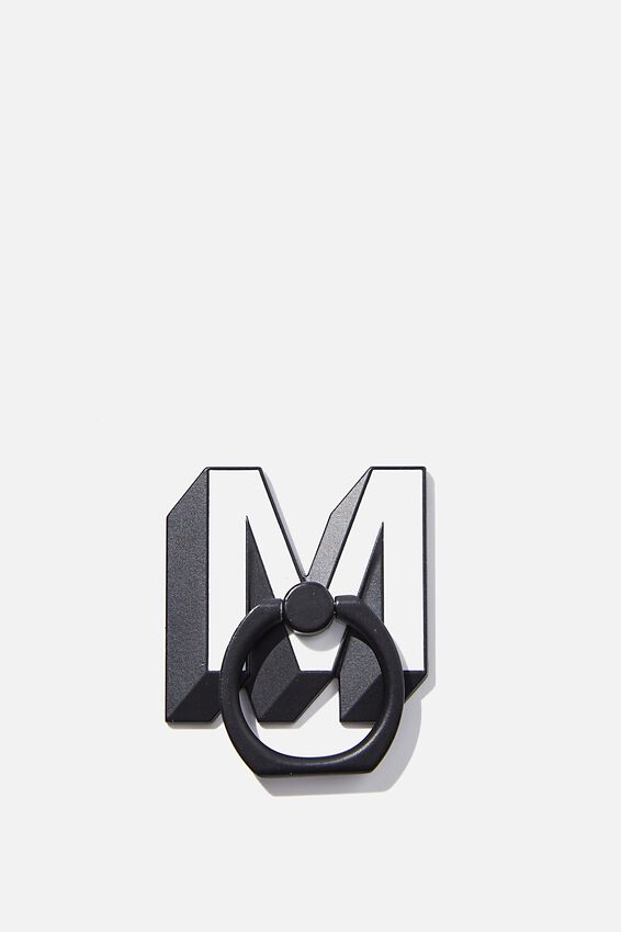 Metal Alpha Phone Ring, SHAPED M