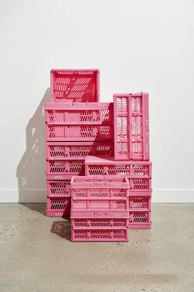 Midi Foldable Storage Crate, PINK GUAVA