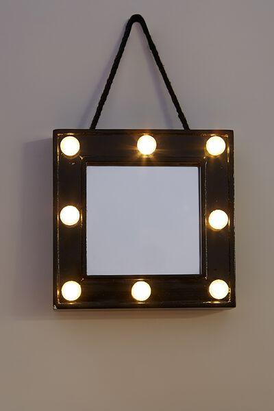 Mini Marquee Mirror, BLACK