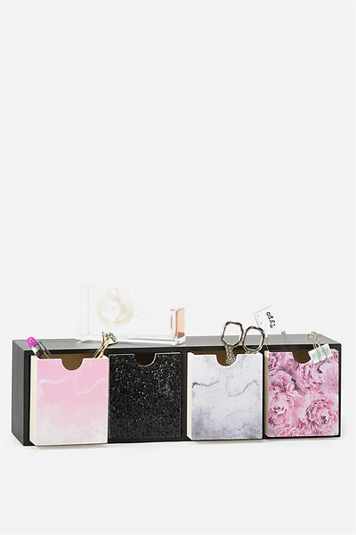 Quick Desk Drawer Storage, BLACK PINK MARBLE