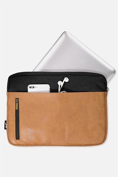 "Take Charge Laptop Cover 13"", BLACK & MID TAN"