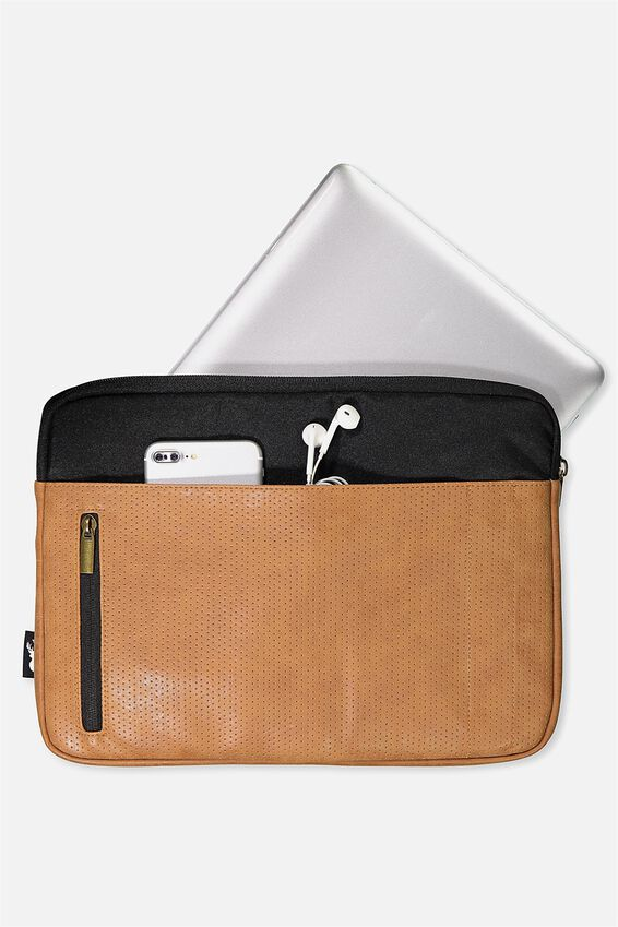 Take Charge Laptop Cover 13 inch, BLACK & MID TAN