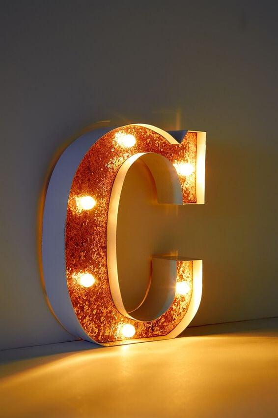 Marquee Letter Lights Premium 16cm Midi, WHITE WITH ROSE GOLD C