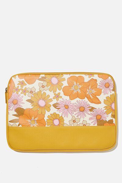 Take Me Away 13 Inch Laptop Case Pu, RG ORANGE & PINK STEVIE FLORAL WITH MUSTARD S
